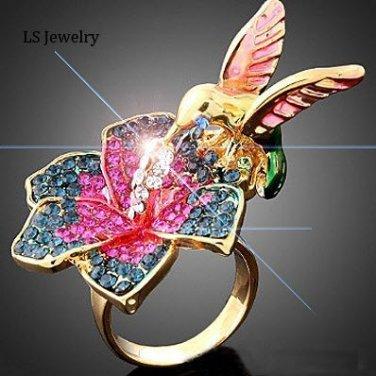 18K Gold Plated Humming Bird Ring Big Bling Rings Swarovski Crystals