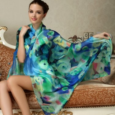 100% Pure Silk Body Scarves Shawl Scarf Wrap Pull Over Large 175cm x 110cm