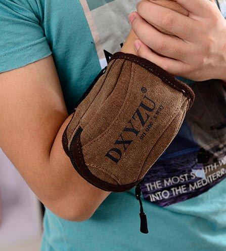 Sports Canvas Wrist Bag Fanny Waist Pack Arm Strap Pouch