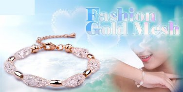 10pc Lot 18K Rose Gold Plated Austrian Crystal Bracelet Mesh Jewellery Chain