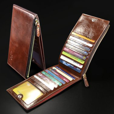 Mens Genuine Leather Clutch Wallet Bag Coin Pouch