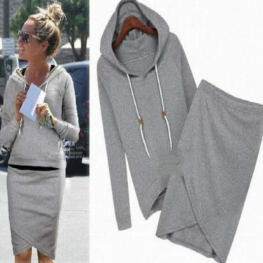 Womens 2pc Sport Tracksuit Hoodie Sweater with Matching Skirt
