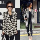 2015 Womens Spring Vogue Checkered Cardigan Jacket