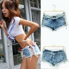Womens Sexy Low Cut Denim Beach Shorts
