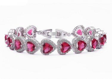 Ruby Heart White Gold Bracelet Zirconia Bangle