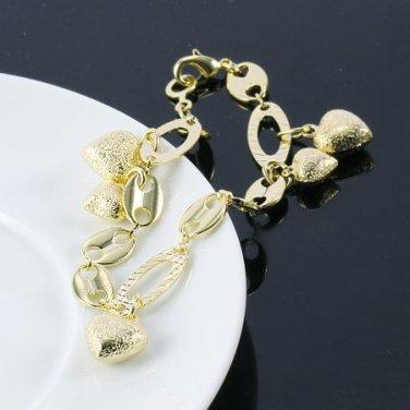 14K Gold Filled Heart Charm Bracelet