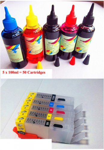 Refillable Printer Ink Cartridge Set Canon Pixma IP7250 MG5440 MG5540 MG6440 MG6640 MG5640 MX924