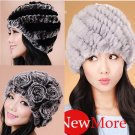 Genuine Real Rex Rabbit Fur Womens Winter Hat Bonnet Cap Beanie