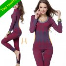 Womens Thermal Underwear Slimming 2Pc Body Suit Shaper Warmer