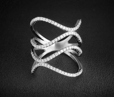 White Gold Plated AAA Swizz CZ Ring Womens Elegant Jewellery Rings