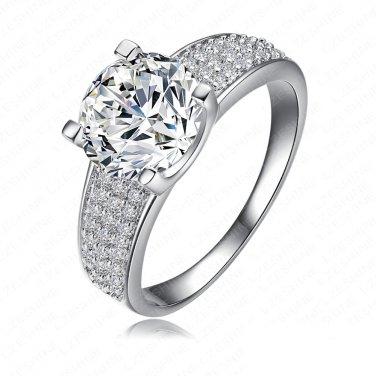 18K Platinum Plated Ring 3X AAA Swizz CZ Wedding Anniversary Gift