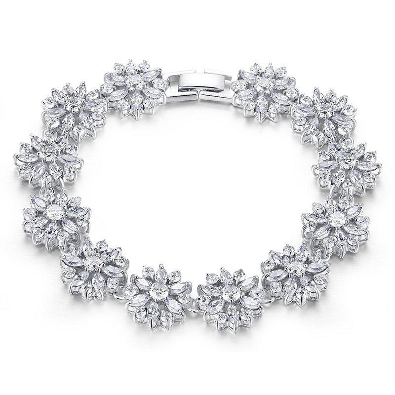 Triple Platinum Plated Snowflake Bracelet Bangle