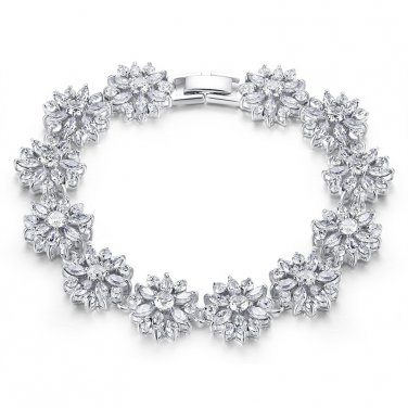 Triple Platinum Plated Snowflake Bracelet Bangle
