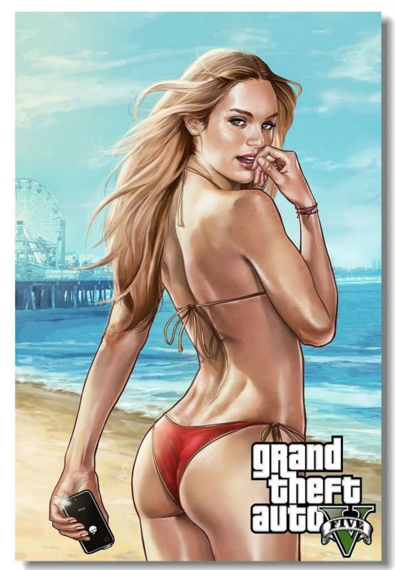GTA 5 V Grand Theft Auto Video Game Silk Fabric Poster Sexy Girl PS4 Xbox