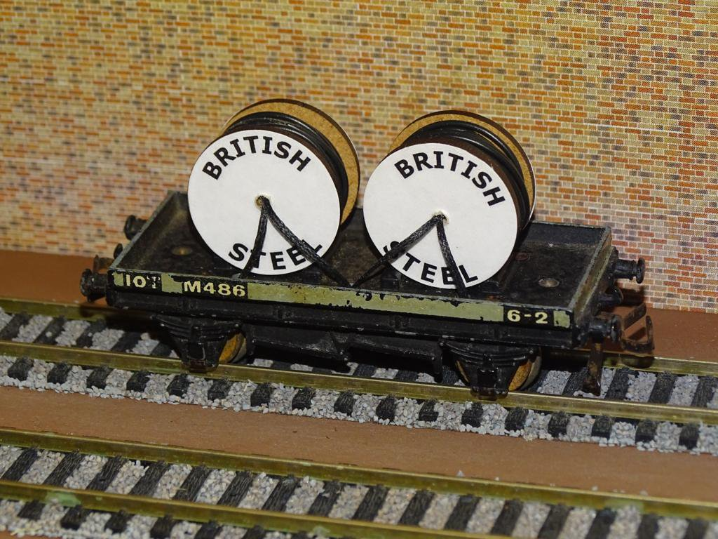 British Steel Cable Drums OO Gauge Set of 4 + FREE Bolted Pack Wagon Loads #2033