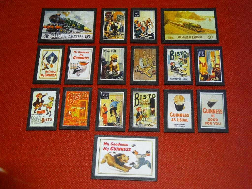 Bisto Guinness John Bull Railway Wallboards OO Gauge Advertising Signs Set of 17 #2044