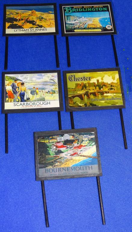 Destinations Billboards O Gauge Advertising Signs Set of 14 Railway Hobby #2054