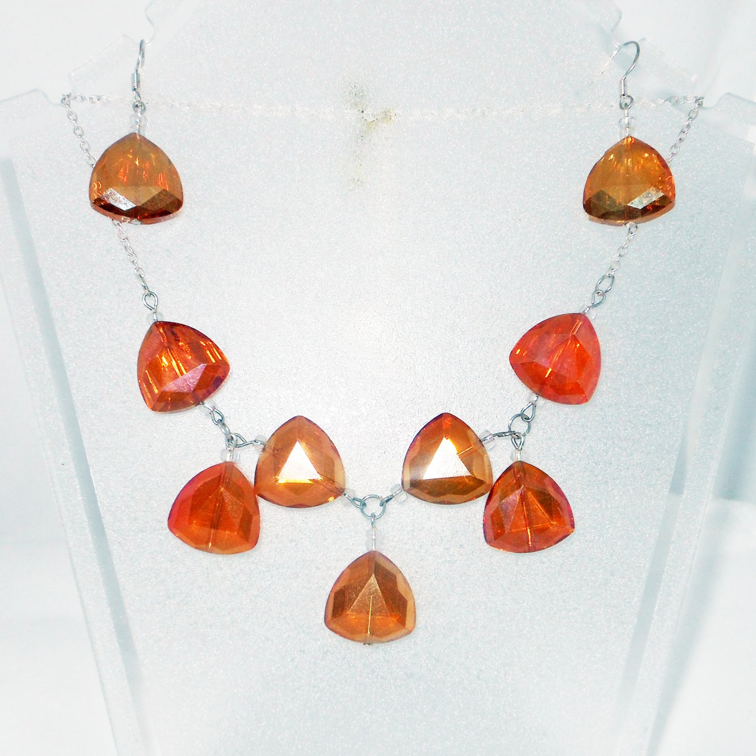 Amber Orange Crystal Drop Matching Necklace and Earrings Set