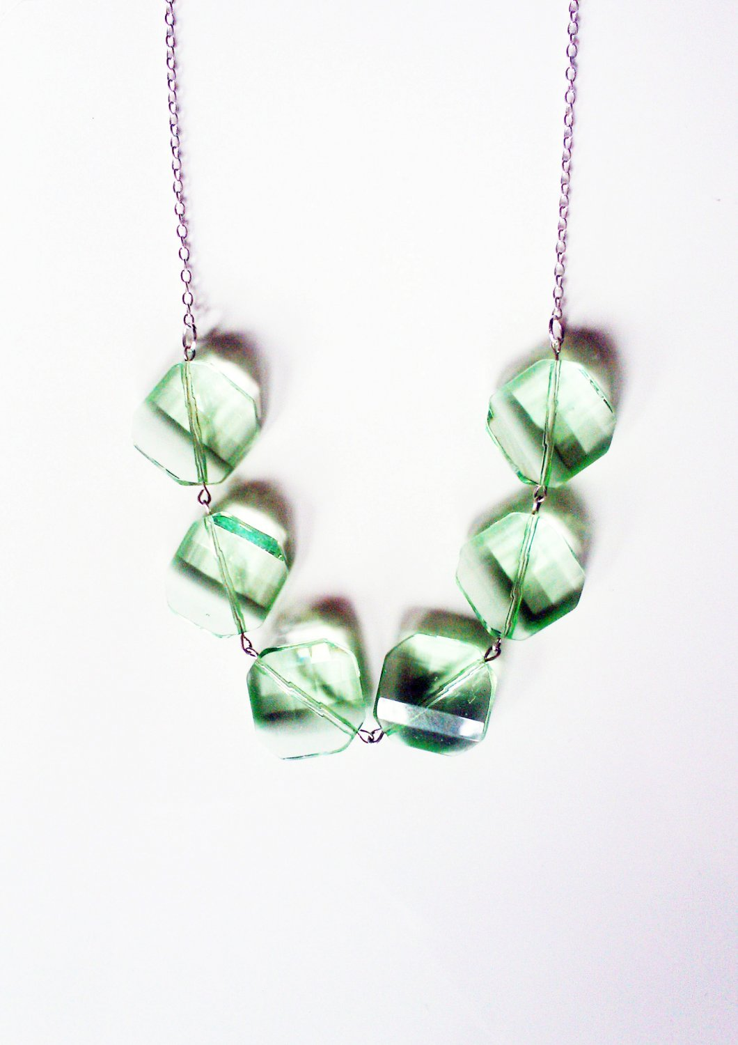 SALE Green Glass Faceted Drop Necklace