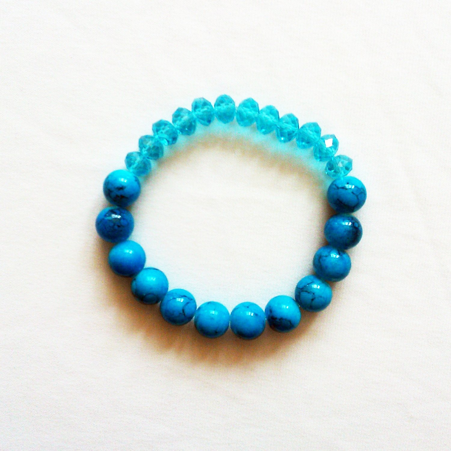 Blue Glass Marble Stretchy Shamballa Bracelet with crystal strap