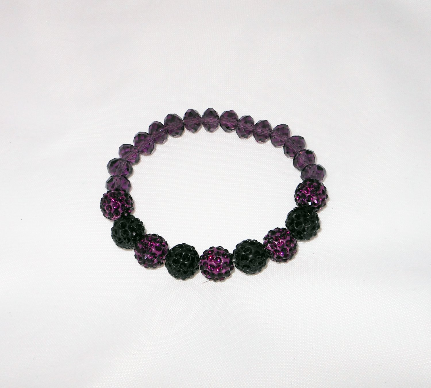 Purple and Black Crystal Stretchy Shamballa Bracelet with crystal strap