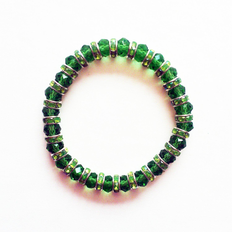 Green Crystal Stretchy Bracelet