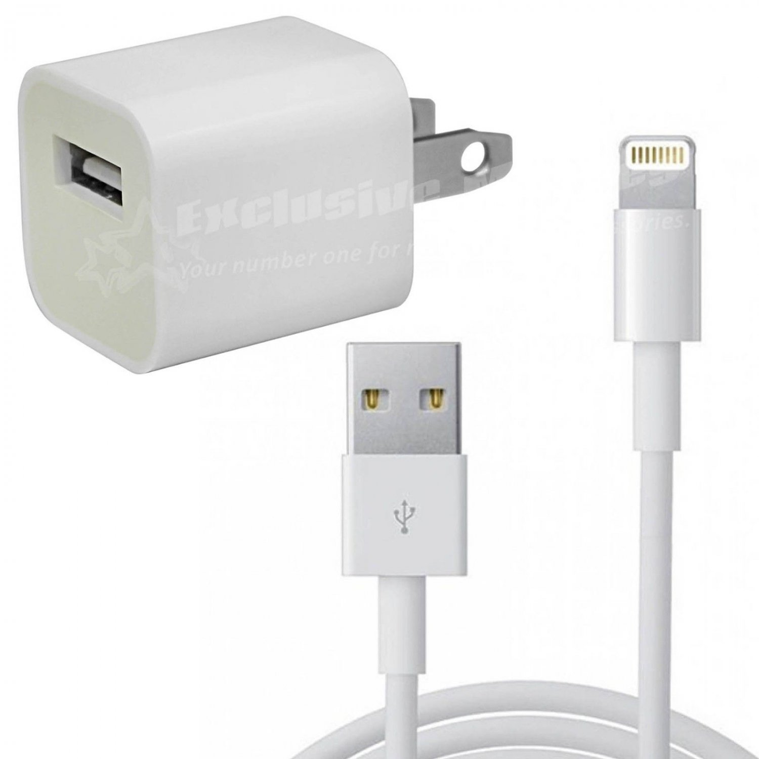 USB Home AC Wall Charger w/ 8 Pin Data Sync Cable Cord for Apple iPhone 5 5G, USA Plug