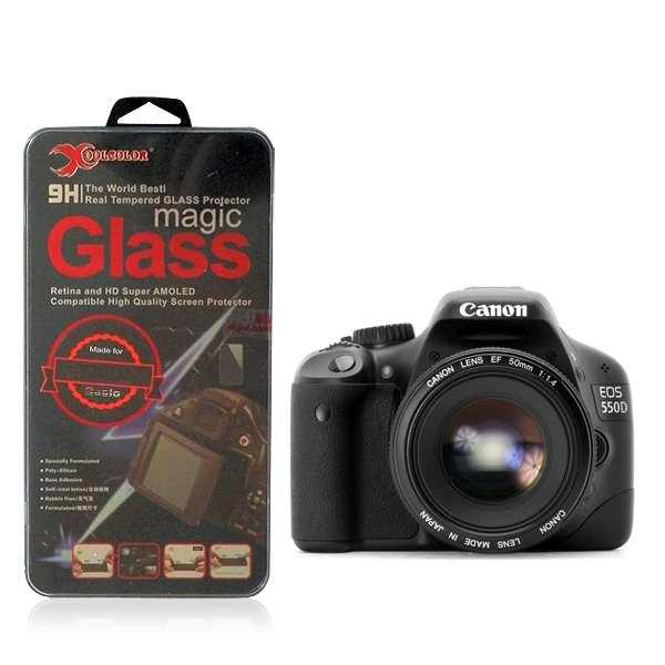 Real 9H Tempered Glass Screen Protector for Canon EOS 550D Rebel T2i Camera