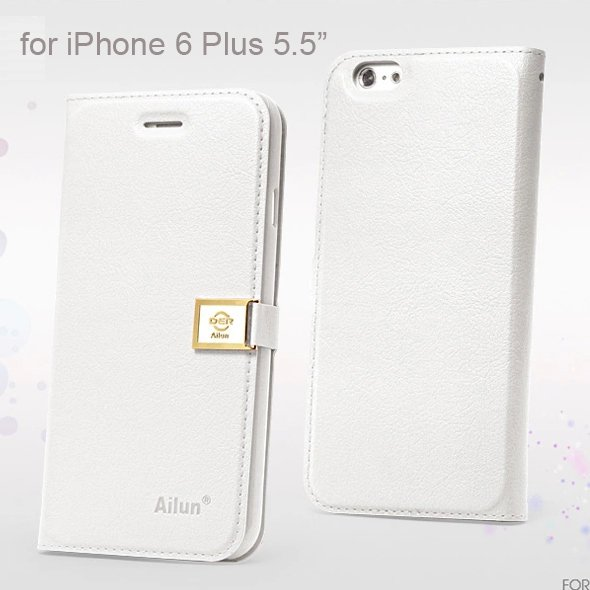"""Ailun Luxury Leather Wallet Case Protective Cover for Apple iPhone 6S Plus & 6 Plus 5.5"""" - White"""