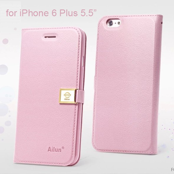 """Ailun Luxury Leather Wallet Case Protective Cover for Apple iPhone 6S Plus & 6 Plus 5.5"""" - Pink"""