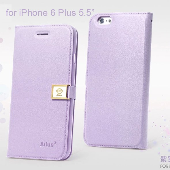 """Ailun Luxury Leather Wallet Case Protective Cover for Apple iPhone 6S Plus & 6 Plus 5.5"""" - Violet"""