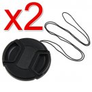 2x 58mm Center Pinch Lens Cap w/ Leash for Canon EOS 450D 500D 550D Camera DSLR