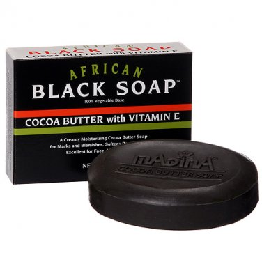 African Black Soap Madina Cocoa Butter and Vitamin E - 4.25 oz.