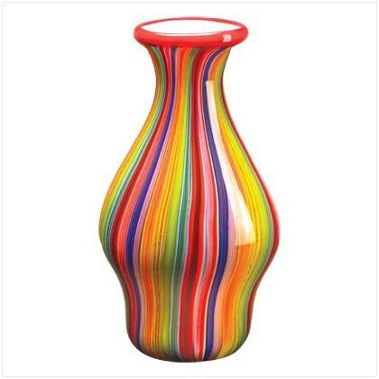 Multi-Color Striped Vase