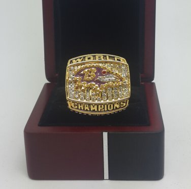 2000 Baltimore Ravens super bowl championship ring size 11 US With wooden box