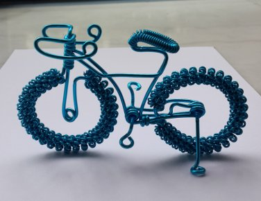 unique custom handmade gift wire bike blue bicycle birthday presents