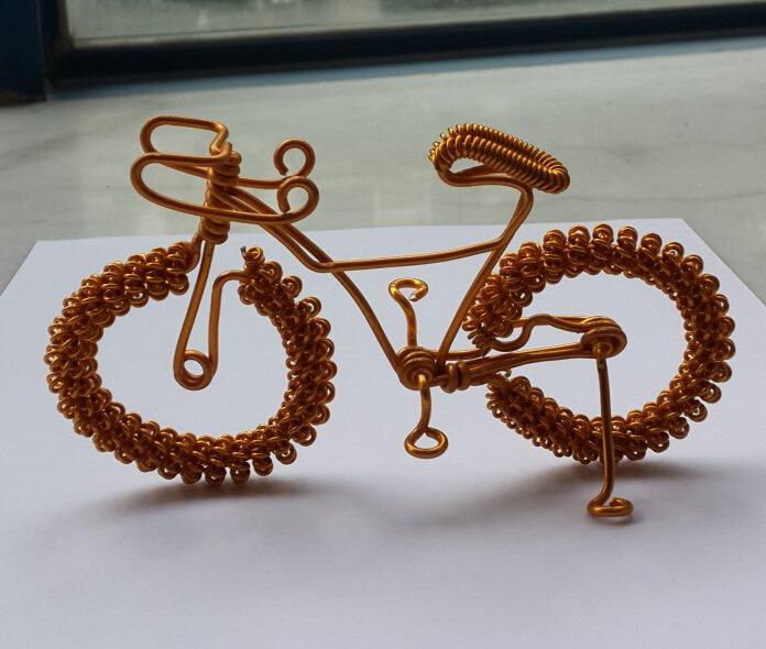 unique custom handmade gift wire bike yellow gold bicycle birthday presents