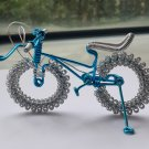 unique custom handmade gift wire bike blue with silver bicycle birthday presents