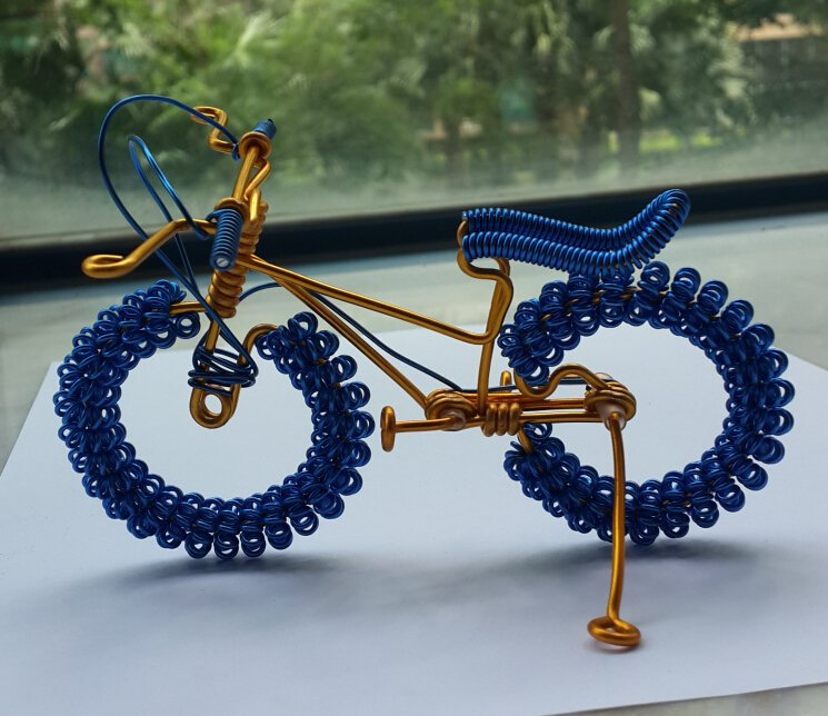 unique custom handmade gift wire bike blue with yellow gold bicycle birthday presents