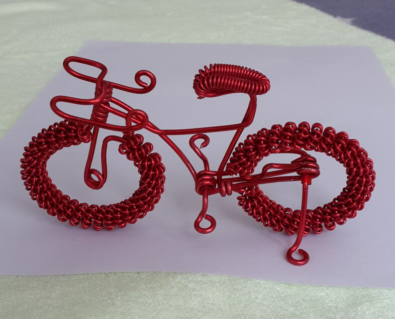 unique custom handmade gift wire bike red bicycle birthday presents