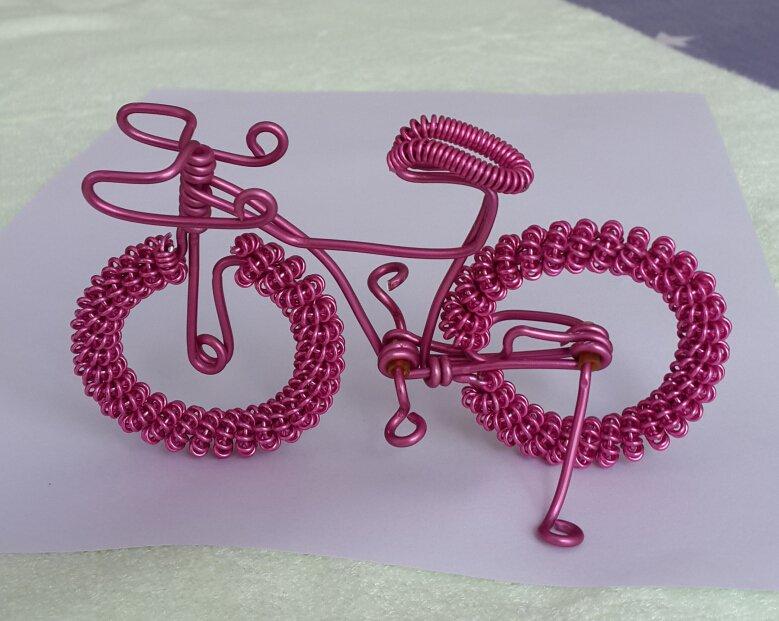 unique custom handmade gift wire bike Pink bicycle birthday prese