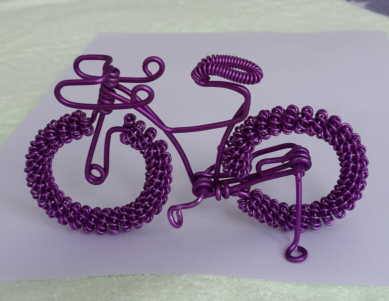 unique custom handmade gift wire bike Violet bicycle birthday prese