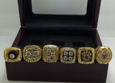A Set Pittsburgh Steelers super bowl championship rings 6PCS size 8-14 with wooden case