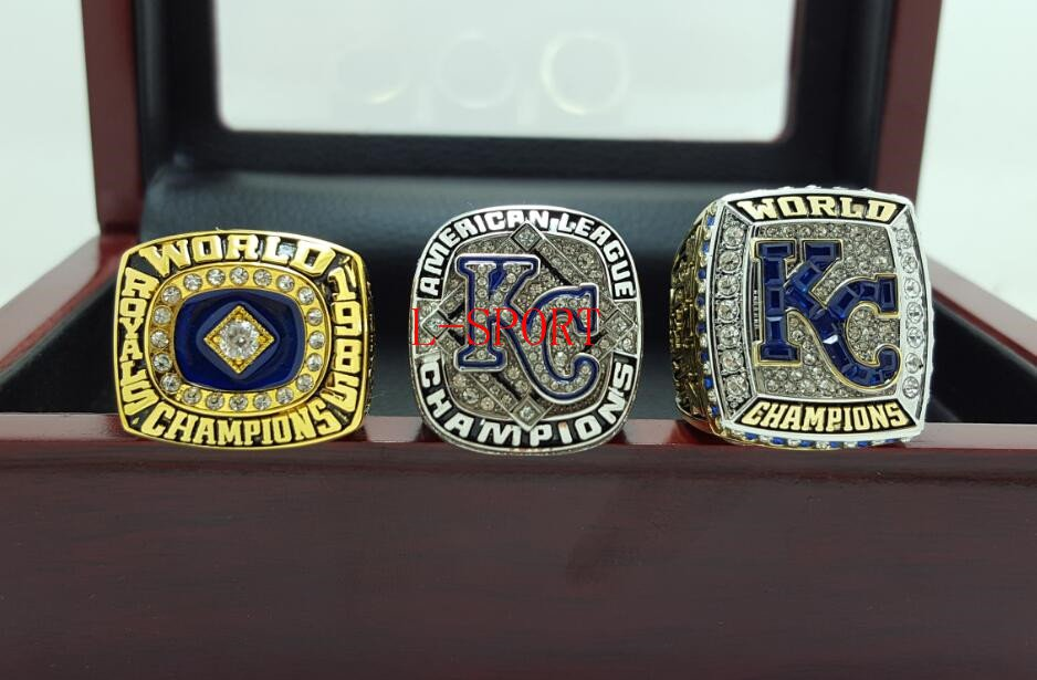 1985 2014 2015 Kansas City Royals American League baseball championship rings size 8-14 Wooden Box