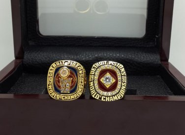 1989 1990 Detroit Pistons Basketball Championship rings replica size 8-14 US + Wooden Case
