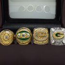 A Set Green Bay Packers 1966 1967 1996 2010 super bowl championship ring size 11 with wooden case