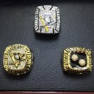 3PCS 1991 1992 2009 Pittsburgh Penguins Stanley Cup Championship rings + Wooden Case