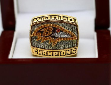2000 Baltimore Ravens super bowl championship ring size 8-14 US With wooden box
