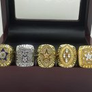 A Set Dallas Cowboys 1971 1977 1992 1993 1995 super bowl championship ring size 11 with wooden case
