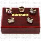 5PCS Washington Redskins 1972 1982 1983 1987 1991 super bowl championship rings Wooden Case